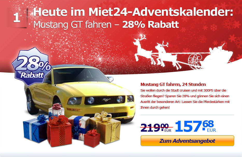 Adventsaktion: 28% Rabatt aufs Mustang GT fahren