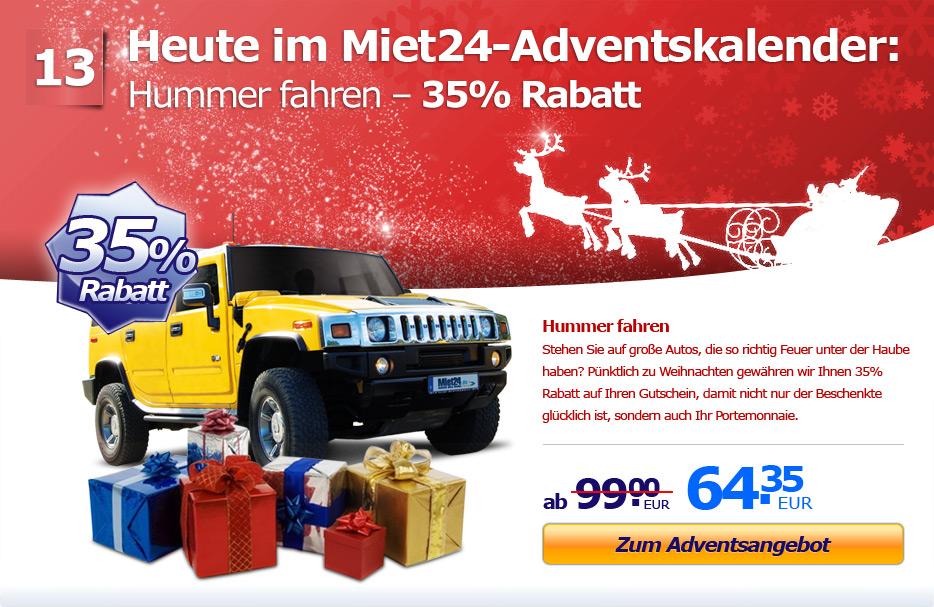 Adventsaktion: 35% Rabatt auf Hummer fahren