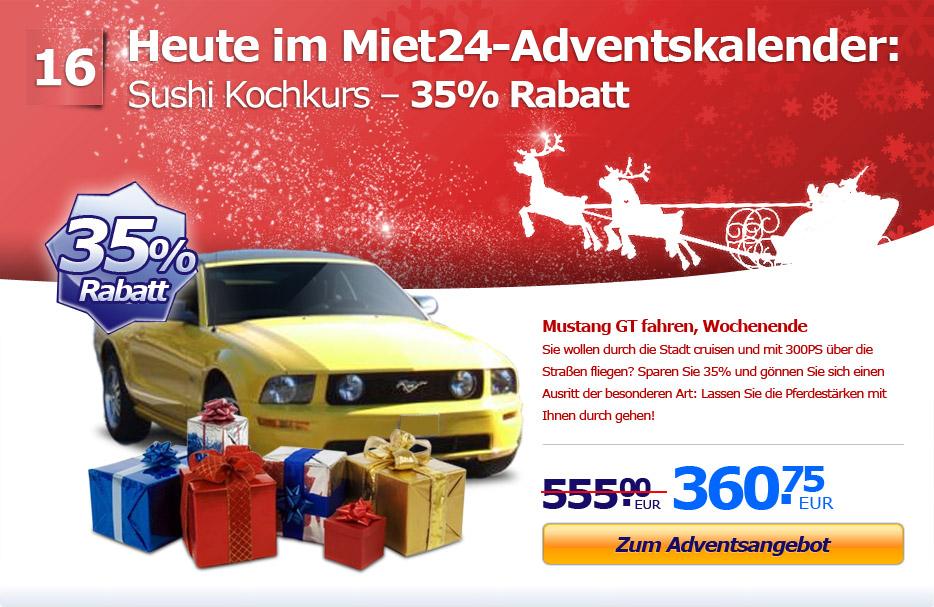 Adventsaktion: 35% Rabatt auf Mustang GT fahren