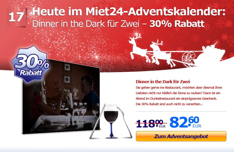 Adventsaktion: 30% Rabatt auf Dinner in the Dark für Zwei