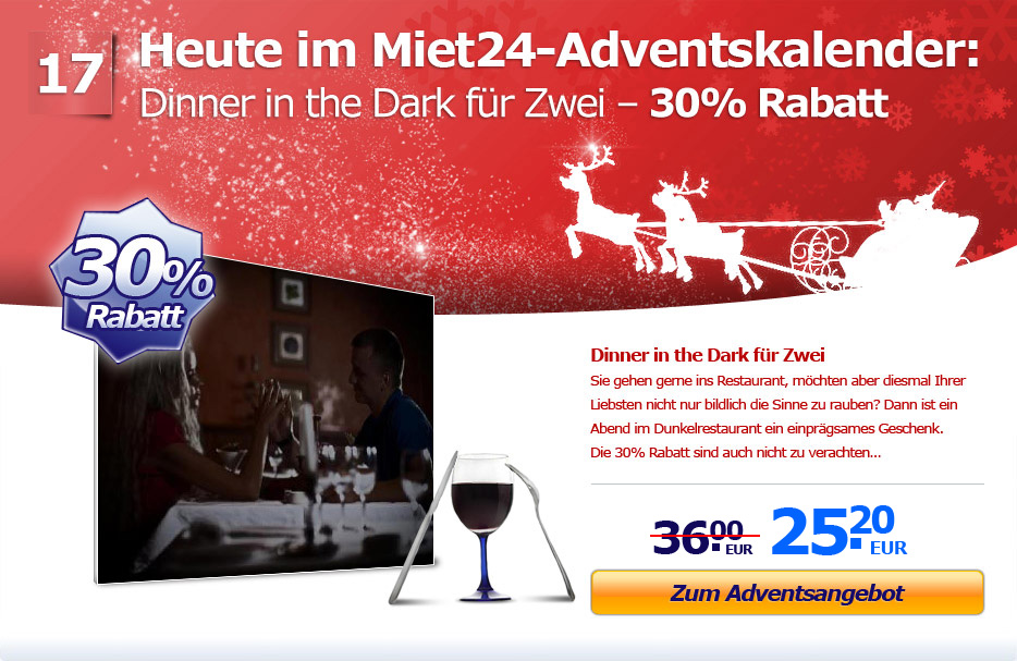 Adventsaktion: 30% Rabatt auf Dinner in the Dark für Zwei